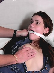 Skinny milf gagged and tied in..